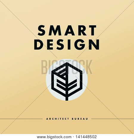 Vector architect studio logo design isolated on white background. Architect bureau insignia icon. Building company, construction industry brand mark icon. Abstract leaf, box icon.