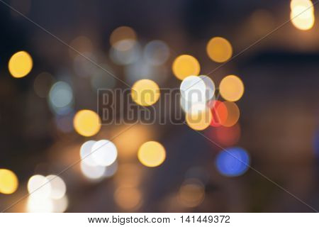 Abstract blurred night city lights..Blur backgrounds concept. Blur of cityscape in Blue hour.  Blur wallpaper concept. Blurry night urban.