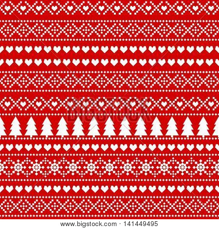 Seamless Christmas background, card - Scandinavian sweater style. Simple Christmas pattern - Xmas trees, hearts, snowflakes on red background. Design for textile, wallpaper, web, fabric and decor etc.