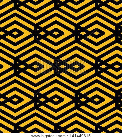 Yellow endless vector texture with parallel black lines motif abstract contemporary geometric background.