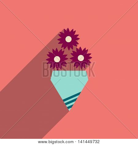 flat icon with long shadow  bouquet of flowers