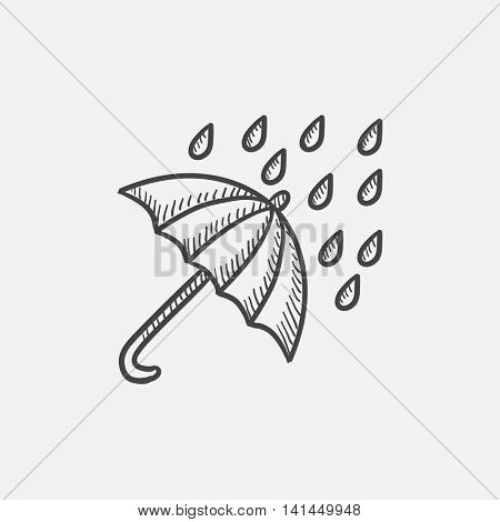 Rain and umbrella sketch icon set for web, mobile and infographics. Hand drawn vector isolated icon.