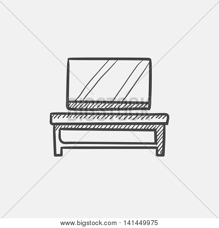 Flat screen tv on modern tv stand sketch icon for web, mobile and infographics. Hand drawn vector isolated icon.