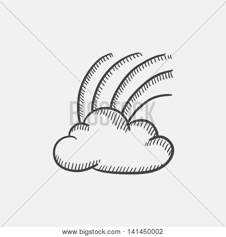 Rainbow in cloud sketch icon set for web, mobile and infographics. Hand drawn vector isolated icon.
