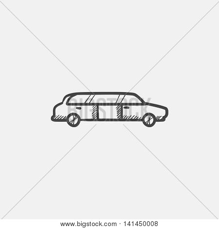 Wedding limousine sketch icon for web, mobile and infographics. Hand drawn vector isolated icon.