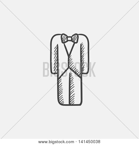 Wedding tuxedo sketch icon for web, mobile and infographics. Hand drawn vector isolated icon.