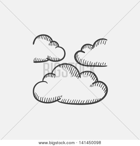 Clouds sketch icon set for web, mobile and infographics. Hand drawn vector isolated icon.