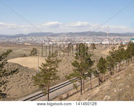 View of the city of Ulan-Ude. The Republic of Buryatia. Siberia. Russia.