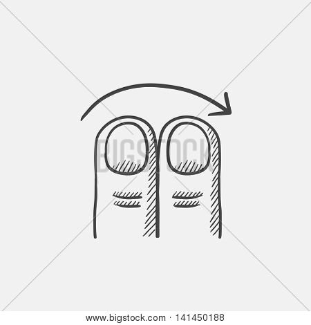 Swipe right with two fingers sketch icon for web, mobile and infographics. Hand drawn vector isolated icon.