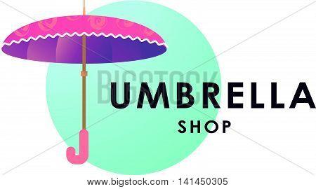 Umbrella store logo isolated on white background. Cartoon style. Umbrella icon. Umbrella and accessory shop insignia.