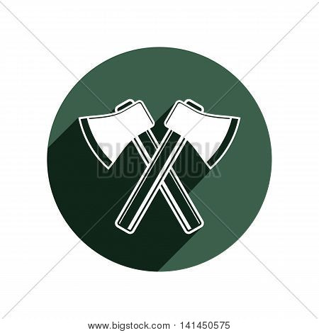 Two sharp axes crossed. Woodcutter tool simple hatchet symbol isolated on white.
