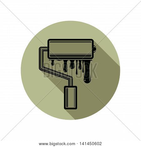 Graphic vector illustration of paint roller with smears renovation tool for wall painting.