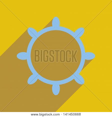 Flat web icon with long  shadow ship steering wheel