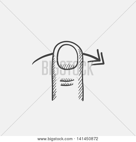 Swipe right sketch icon for web, mobile and infographics. Hand drawn vector isolated icon.