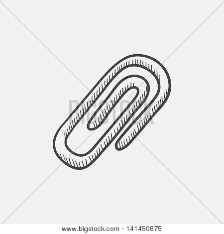 Paper clip sketch icon for web, mobile and infographics. Hand drawn vector isolated icon.