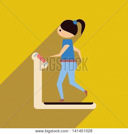 Flat web icon with long  shadow girl treadmill