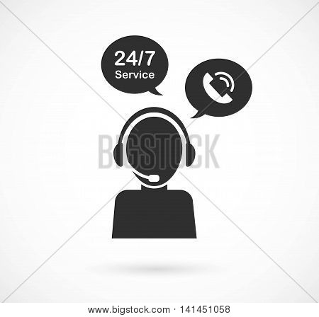 hotline support service with headphones. concept of consultation, telemarketing, consultant. isolated on white background. flat style modern brand design