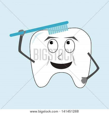 Tooth with toothbrush character. The tooth has big smile and is cleaning itself with its blue toothbrush. Childish simple cartoon isolated vector illustration on light blue background.