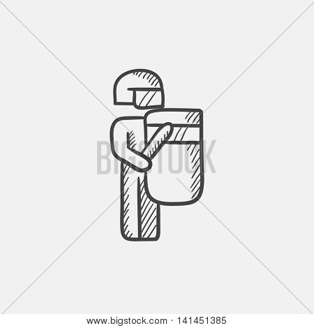 Policeman officer in uniform standing with shield and baton sketch icon for web, mobile and infographics. Hand drawn vector isolated icon.