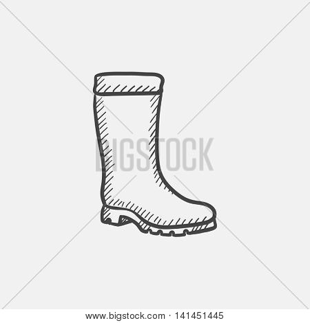 High boot sketch icon set for web, mobile and infographics. Hand drawn vector isolated icon.
