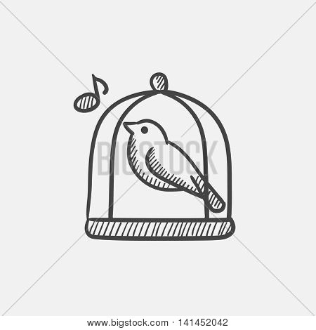 Bird singing in cage sketch icon set for web, mobile and infographics. Hand drawn vector isolated icon.