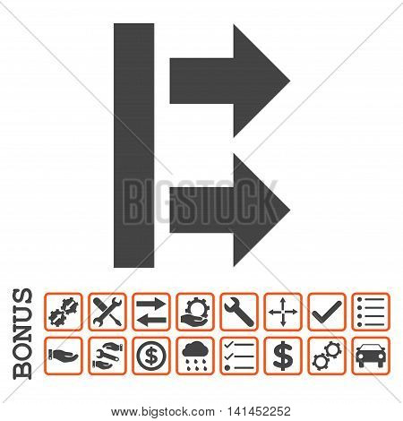 Bring Right icon with bonus pictograms. Vector style is flat iconic symbol, orange and gray colors, white background. Bonus style is bicolor square rounded frames with symbols inside.