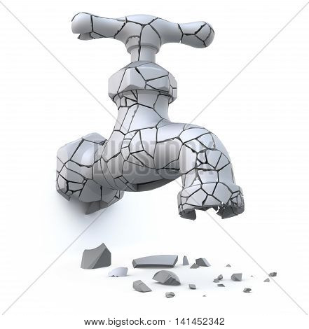Broken cracked faucet (drought and global warming concept) - 3D illustration