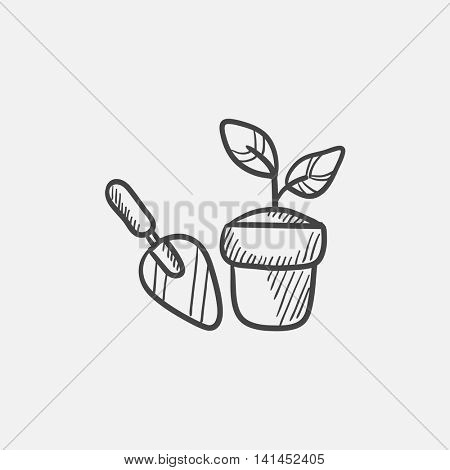 Garden trowel and pot with growing plant sketch icon for web, mobile and infographics. Hand drawn vector isolated icon.