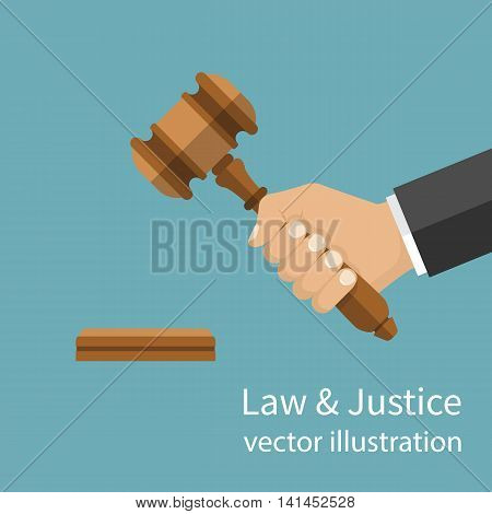 Hand holding judges gavel. Vector illustration flat style design. Symbol of law and justice. Businessman in a suit holds an auction.
