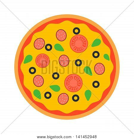 Delicious italian pizza isolated. Pizza top view vector, Pizza crust, dinner, tomato and fast food. Traditional slice meat basil vegetable pizza food.