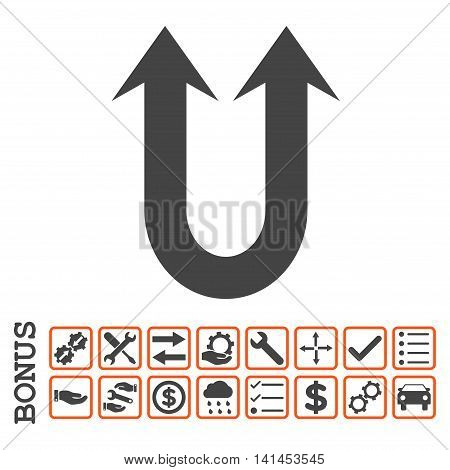Double Forward Arrow icon with bonus pictograms. Vector style is flat iconic symbol, orange and gray colors, white background. Bonus style is bicolor square rounded frames with symbols inside.