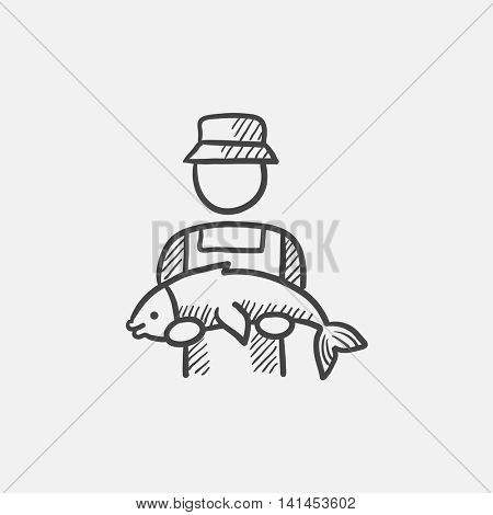 Fisherman with big fish sketch icon for web, mobile and infographics. Hand drawn vector isolated icon.