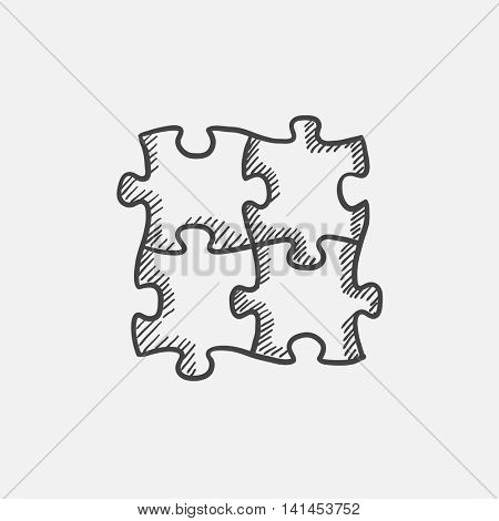 Puzzle sketch icon for web, mobile and infographics. Hand drawn vector isolated icon.