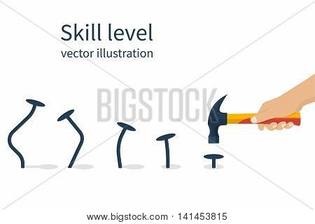Skill level concept. Man holding a hammer in hand hammer nails training skill. From beginner to skilled expert. Symbol of successful training and persistence. Vector illustration flat design.
