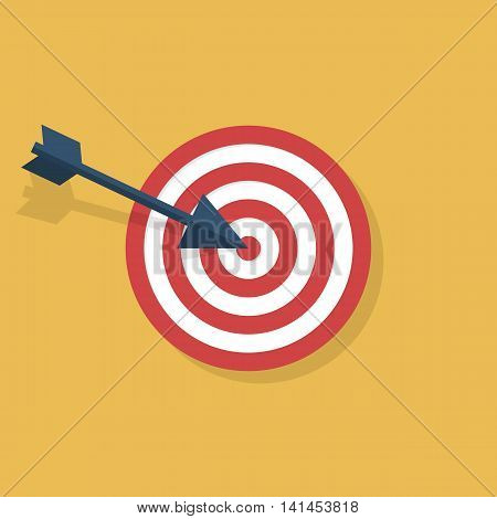 Target icon isolated flat style design. Targeting arrow objective darts. Vector illustration.