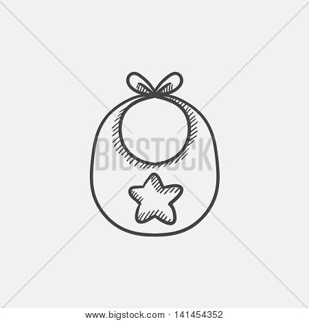 Baby bib sketch icon for web, mobile and infographics. Hand drawn vector isolated icon.