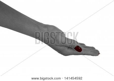 Palm up showing anything adult female's skin red manicure. Isolated on white background.