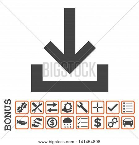 Inbox icon with bonus pictograms. Vector style is flat iconic symbol, orange and gray colors, white background. Bonus style is bicolor square rounded frames with symbols inside.