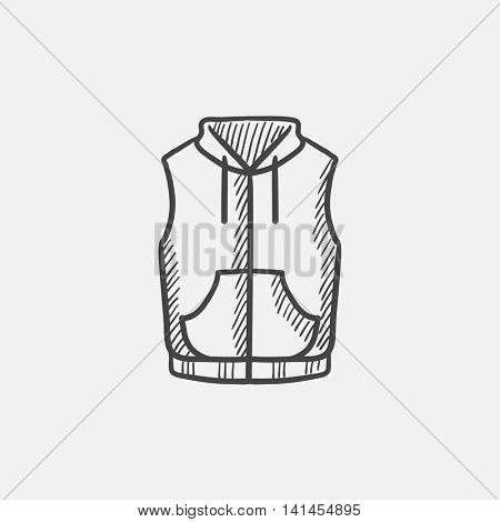 Vest down jacket sketch icon for web, mobile and infographics. Hand drawn vector isolated icon.