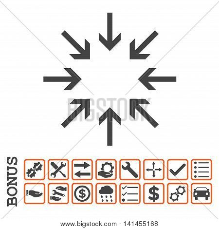 Pressure Arrows icon with bonus pictograms. Vector style is flat iconic symbol, orange and gray colors, white background. Bonus style is bicolor square rounded frames with symbols inside.
