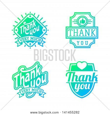 Vintage label Thank You text vector badge. Thank you text design label card lettering type banner symbol. Letter typography thank you badge logo decorative calligraphic message text