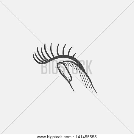 False eyelashes sketch icon for web, mobile and infographics. Hand drawn vector isolated icon.