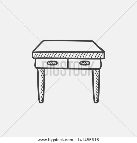 Table with drawers sketch icon for web, mobile and infographics. Hand drawn vector isolated icon.