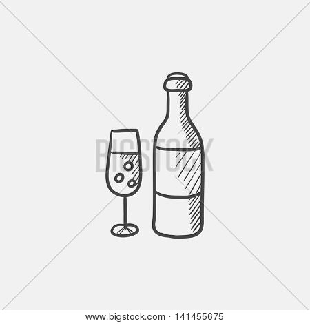 Bottle and glass of champagne sketch icon for web, mobile and infographics. Hand drawn vector isolated icon.