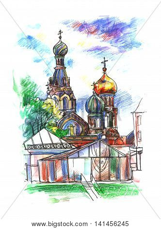 Church of the Savior on Blood. famous Russian church in Saint Petersburg, covered with trees on a sunny day, hand-drawn watercolor and ink sketch design