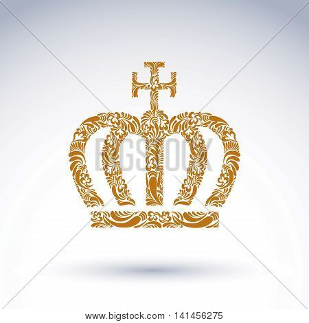 Luxury flower-patterned gold crown with Christianity cross emperor accessory.