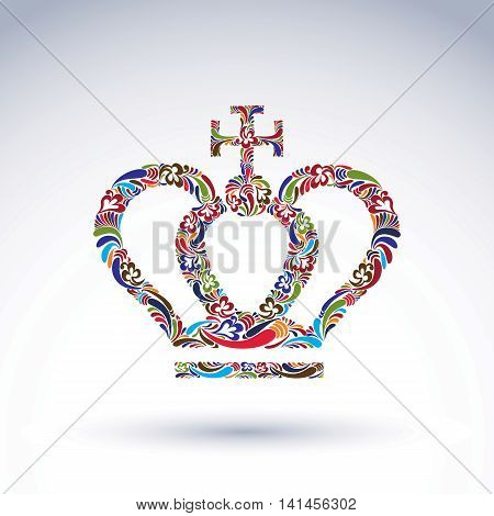 Elegant flower-patterned bright crown with Christianity cross emperor accessory.