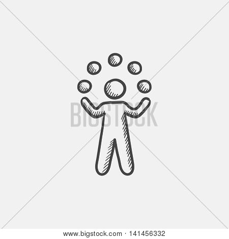 Man juggling with balls sketch icon for web, mobile and infographics. Hand drawn vector isolated icon.