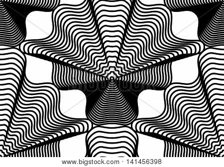 Continuous vector pattern with black graphic lines decorative abstract background with geometric figures.