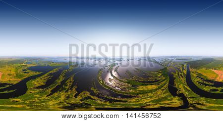 Aerial (about 500m) seamless 360 degree panorama of the river's valley with lots of islets. River of Kama, Russia